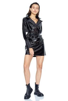 Keikei Kadın Siyah Deri Uzun Kol Kısa Elbise