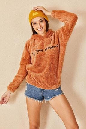 Morpile Kadın Turuncu Kapüşonlu Peluş Sweatshirt