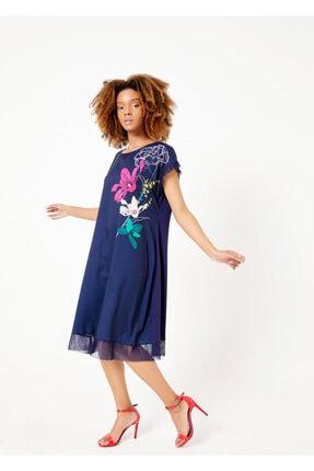 Cazador Kadın Lacivert Göğüs Çiçek Desenli Etek Pliseli Elbise