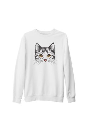 Lord Unisex Beyaz Kedi Yüz Kalın Sweatshirt