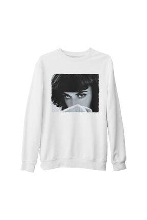Lord Unisex Beyaz Baskılı Kalın Sweatshirt