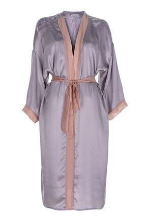 GTNight Kadın Gri  İpek Uzun Kimono