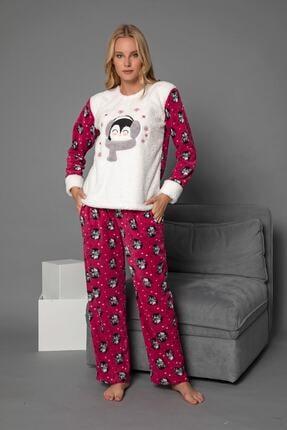 Elitol Kadın Fuşya 1711 Peluş Welsoft Polar Cepli Kışlık Ev Pijama Takımı