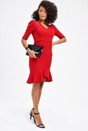 Jument Kadın Kırmızı V Yaka Kolları Büzgülü Eteği Volanlı Ofis Şık Diz Boy Elbise