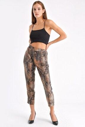 Jument Kadın Camel Yilan Kadın Desenli Beli Lastikli Yazlık Rahat Pantolon - Camel Yılan 49006