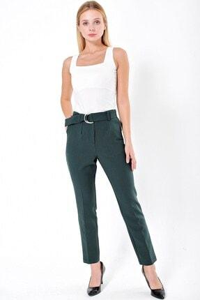 Jument Kadın Yeşil Yüksek Bel Cepli Kemerli Kumaş Pantolon