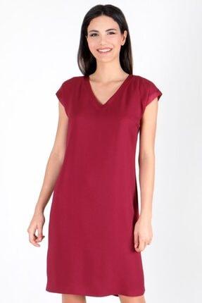 Spazio Kadın Bordo Manuelo V Yaka Sırtı Düğmeli Bantlı Elbise 50095795