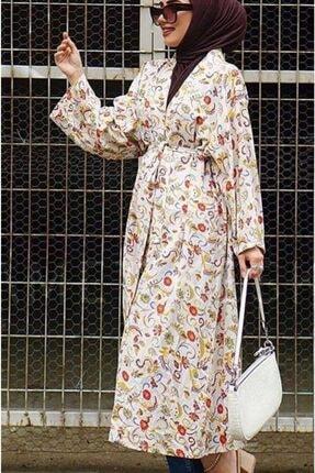 NK Kadın Bej Keten Kimono
