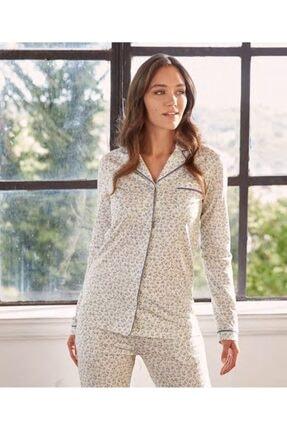 Eros Kadın Ekru Desenli Önden Düğmeli Uzun Kol Kadın Pijama Takımı