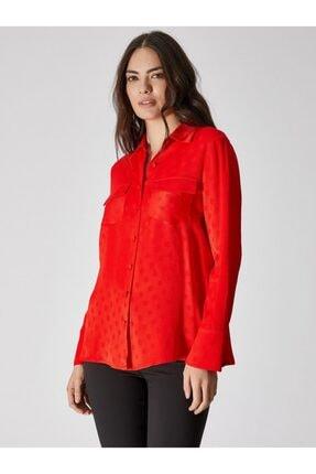 Vekem Kadın Kırmızı Çift Cep Detaylı Puantiyeli Gömlek 9106-0025
