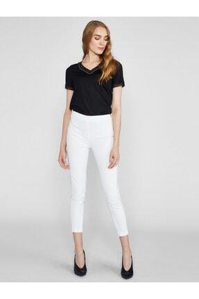 Vekem Kadın Beyaz Yandan Fermuarlı Slim Fit Pantolon 8101-0053