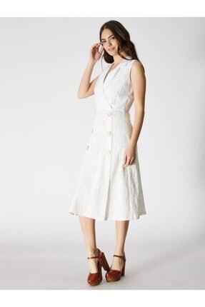 Vekem Kadın Beyaz Kolsuz Pamuk Midi Elbise 9109-0043