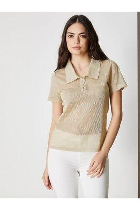 Vekem Kadın Gold Gömlek Yaka Kısa Kol Bluz 9107-0121