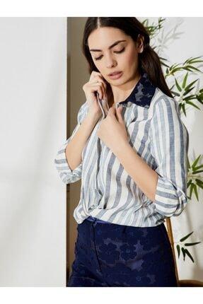 Vekem Kadın Lacivert Beyaz Çizgili Dantel Detaylı Keten Pamuk Gömlek 9106-0011