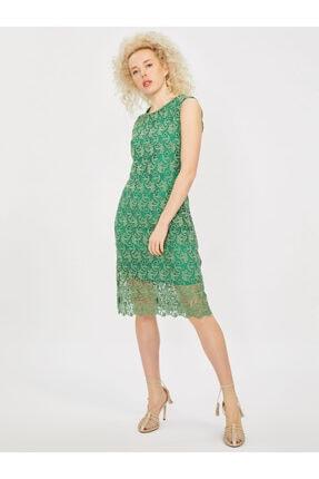 Vekem Kadın Yeşil Kolsuz Yuvarlak Yaka Dantel Elbise