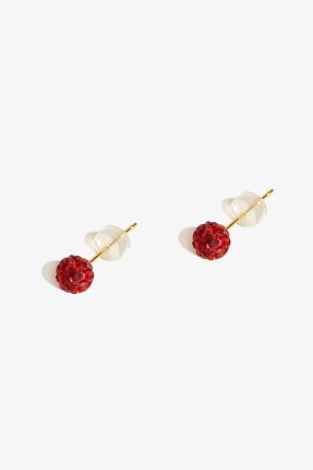 Lapidore Red Globe Mini Taşlı Küpe