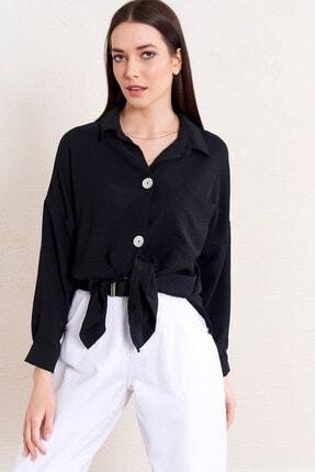Eka Kadın Siyah Crinkle Kumaş Geniş Kesim Tek Cepli Gömlek