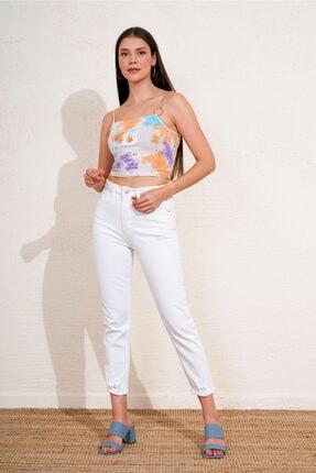 Eka Kadın Beyaz Eskitmeli Kot Pantolon
