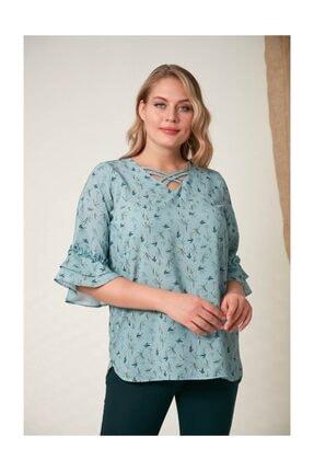 Rmg Kadın Fırfır Detaylı Büyük Beden Çagla Yeşili Bluz