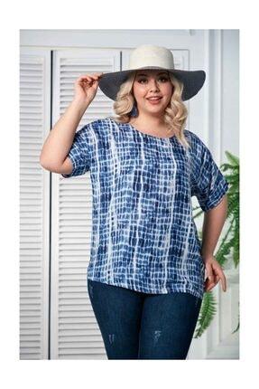 Rmg Kadın Lacivert Desenli Kol Detaylı Büyük Beden Bluz