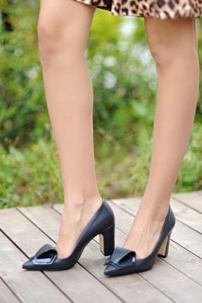 Pembe Potin Kadın Lacivert Klasik Topuk