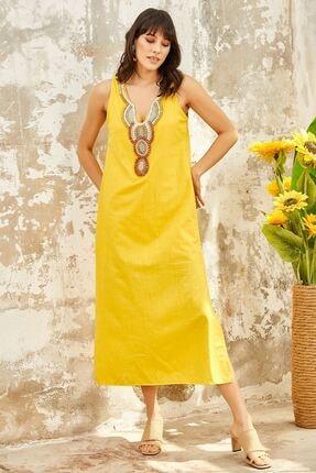 Mispacoz Kadın Madalyon Desen Elbise Sarı
