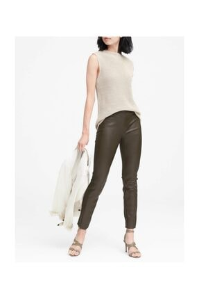 Banana Republic Kadın Koyu Yeşil Devon Fit Vegan Deri Pantolon 326917