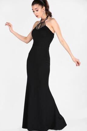 Nesrinden Taşlı Siyah Kadın Balık Model Abiye ELB0015D9394