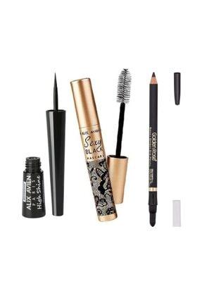 Alix Avien Dipliner High Shine + Mascara Sexy Black + Golden Rose Effect Eye Pencil Siyah
