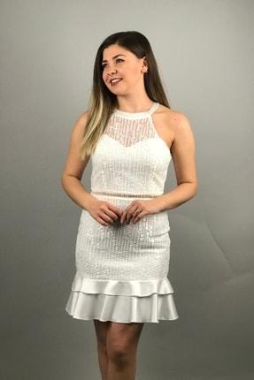 6ixty8ight Kadın Ekru Halter Yaka Dantel Mini Abiye Elbise 57188