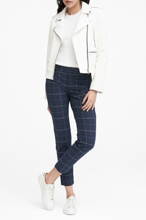 Banana Republic Kadın Lacivert Sloan Skinny-Fit Ekose Pantolon 470335