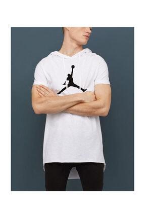 Köstebek Ghetto Nba Jordan Air Logo Kollu Kapşonlu Unisex T-shirt