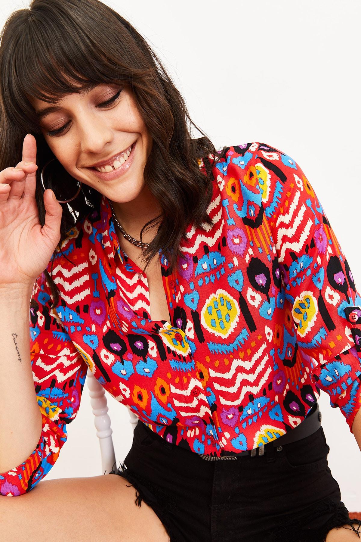 Bianco Lucci Kadın Multi Desenli Uzun Kol Katlamalı Gömlek Kırmızı 10061007