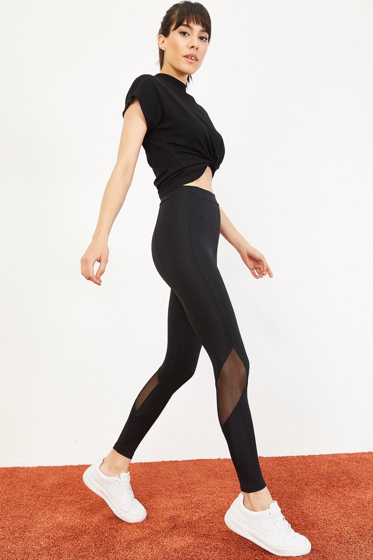 Bianco Lucci Kadın Çımalı Transparan Detay Spor Tayt Siyah 10051055
