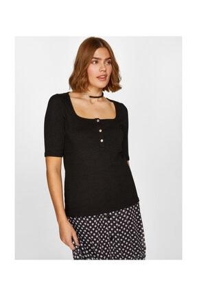 Faik Sönmez Kadın Kare Yaka T-shirt 60627