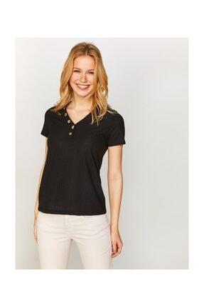 Faik Sönmez Kadın V Yaka Düğme Detaylı T-shirt 60647