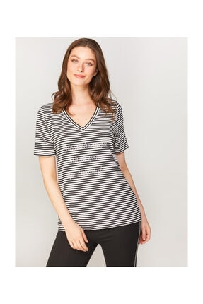 Faik Sönmez V Yaka Çizgili Taş Işlemeli T-shirt 60671