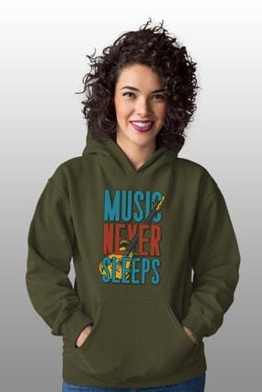 Angemiel Wear Music Never Sleeps Yeşil Kadın Kapüşonlu Sweatshirt Çanta Kombin