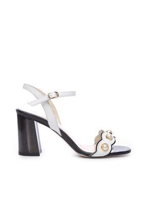 Kemal Tanca Hakiki Deri Beyaz Kadın Topuklu Ayakkabı 94 321 BN AYK