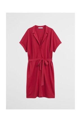 Kadın Şarap Rengi Kemerli Kısa Elbise 67067641