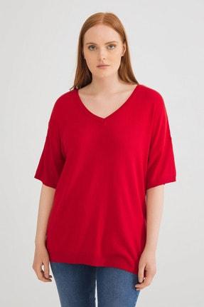 Love My Body Kadın Sırt Detaylı Kırmızı Triko