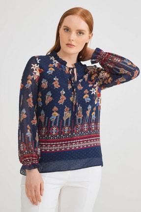 Love My Body Kadın Yakası Bağcıklı Lacivert Bluz