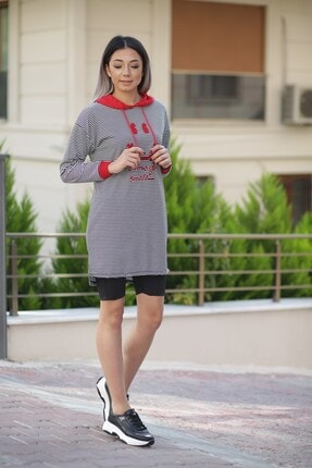Zindi Kadın Çizgili Kapüşonlu Tunik Kırmızı 19K-1061014-010