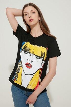 Zindi Kadın İşlemeli Baskılı T-shirt Siyah