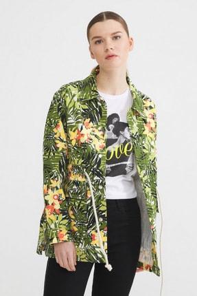 Love My Body Tropikal Baskılı Trenchcoat