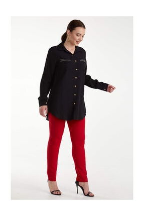 Sementa Büyük Beden Kadın Cep Detaylı Gömlek - Siyah