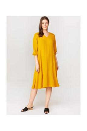 Faik Sönmez Omuzları Nakışlı Uzun Kollu Elbise 60263