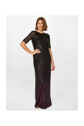 Faik Sönmez Kadın Siyah Payet Maxi Abiye Elbise 60099 U60099