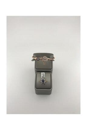 Elmas Gül Yüzük 8k 4,50 Gram 0.04 Karat Gümüş Bileklik Hediyeli YZ12243
