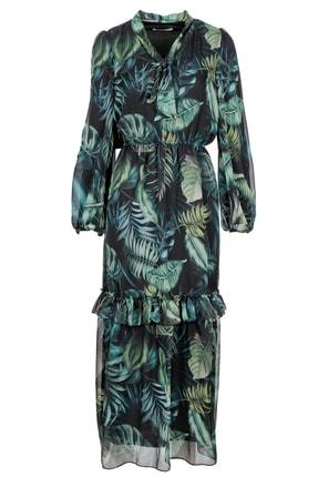 Seçil Volanlı Şifon Elbise